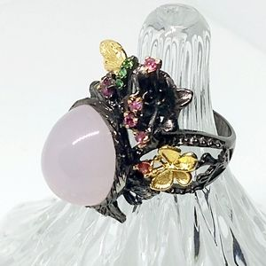 Rose Quartz, Sterling Silver and gold ring. Size 8